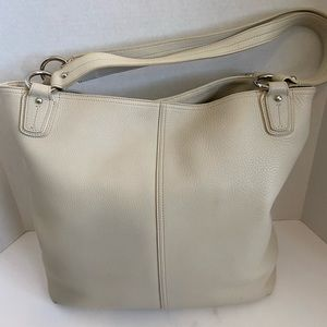 Gorgeous off white Levenger shoulder purse bag